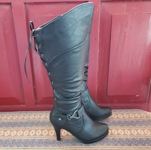 Knee High Laced Heeled Boots. Buckle